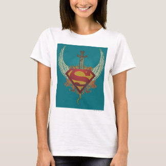 Superman Stylized | Wings Teal Background Logo T-Shirt