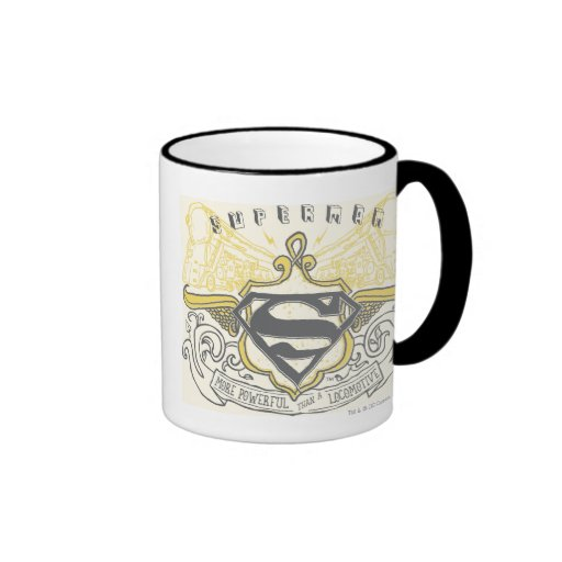 Superman Stylized | Yellow Drawn Trains Logo Ringer Mug