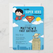 Superman Super Hero First Birthday Invitation