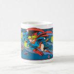 Superman & Supergirl Flying Classic White Coffee Mug