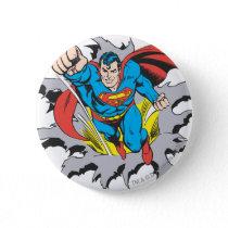 Superman Tears Thru Pinback Button