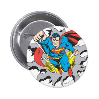 Superman Tears Thru Pinback Button