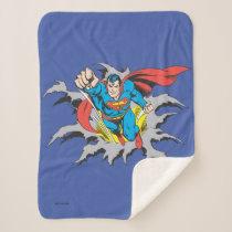 Superman Tears Thru Sherpa Blanket