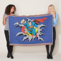 Superman Tears Thru Throw Blanket