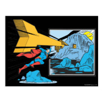 Superman Tunneling Into Rock Postcard