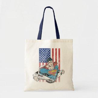 Superman & US Flag Canvas Bag