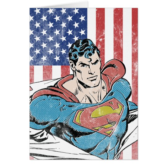 Superman & US Flag Card