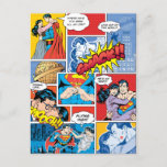 Superman Valentine's Day | Comic Book Collage Holiday Postcard