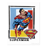 Superman with colorful background postcards