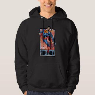 Superman with dark border hooded sweatshirt