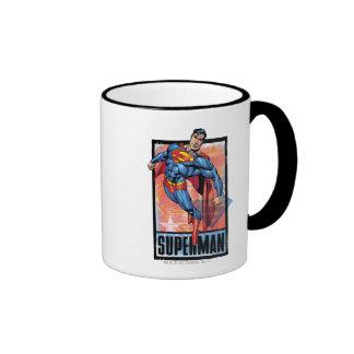 Superman with dark border ringer mug