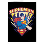 Superman with Electricity Greeting Cards