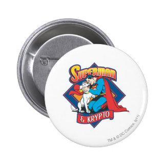 Superman with Krypto Pinback Button