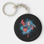 Superman with Logo Basic Round Button Keychain