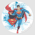 Superman with Logo Classic Round Sticker