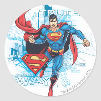 Superman with Logo Classic Round Sticker