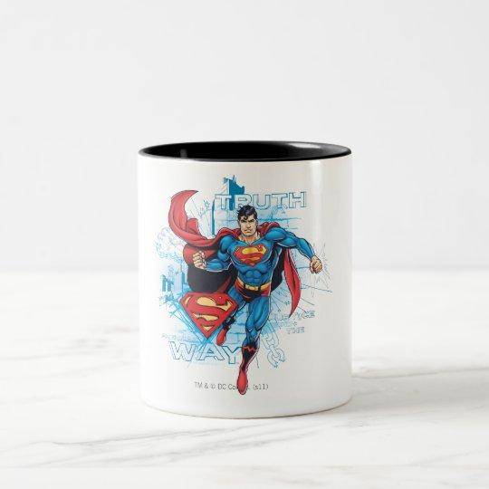 Superman with Logo Two-Tone Coffee Mug