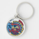 Superman - World Hero Silver-Colored Round Keychain