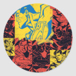 Superman Yellow and Red Classic Round Sticker