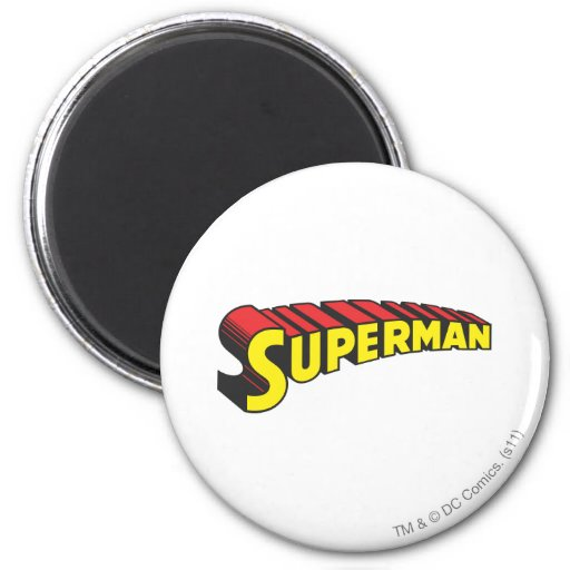 Superman | Yellow Red Letters Logo 2 Inch Round Magnet