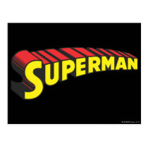 Superman | Yellow Red Letters Logo Postcard