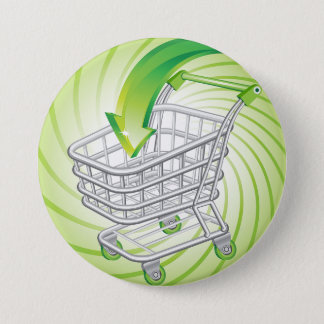 Supermarket Shopping Cart Pinback Button