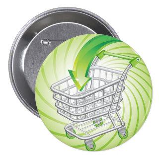 Supermarket Shopping Cart Pinback Button