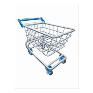 Supermarket shopping cart trolley postcard