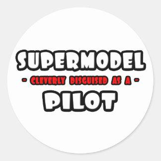 Supermodel .. Pilot Classic Round Sticker