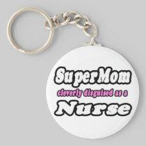 SuperMom...Nurse Basic Round Button Keychain