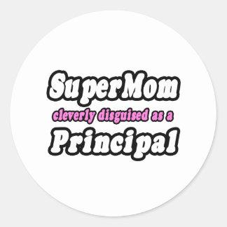 SuperMom...Principal Classic Round Sticker