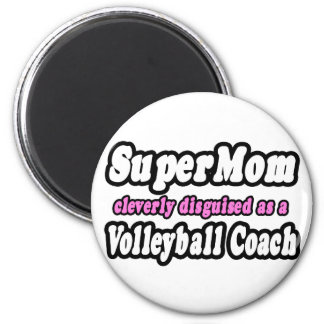 SuperMom...Volleyball Coach 2 Inch Round Magnet