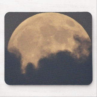 Supermoon in grey clouds mouse pad