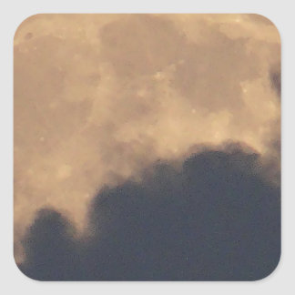 Supermoon in grey clouds square sticker