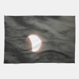 Supermoon Lunar Eclipse in Clouds Kitchen Towel
