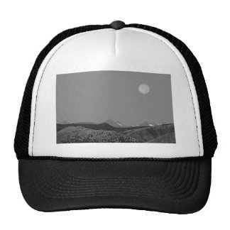 Supermoon Over CO Rocky Mountains Indian Peaks BW Hat