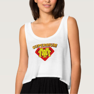 SuperMum Womens Top  Mothers Day Or Birthday Flowy Crop Tank Top