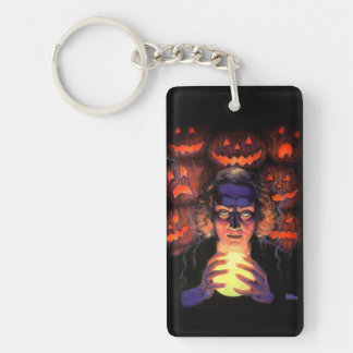 Supernatural Halloween Fortuneteller Witch Double-Sided Rectangular Acrylic Keychain