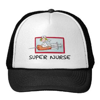 supernurse - enfermera chistosa del dibujo animado gorros bordados