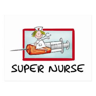 supernurse - enfermera chistosa del dibujo animado tarjeta postal
