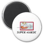 supernurse - Humorous Cartoon Nurse on Syringe. 2 Inch Round Magnet