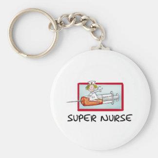 supernurse - Humorous Cartoon Nurse on Syringe. Keychain