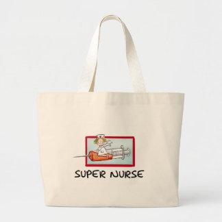 supernurse - Humorous Cartoon Nurse on Syringe. Large Tote Bag