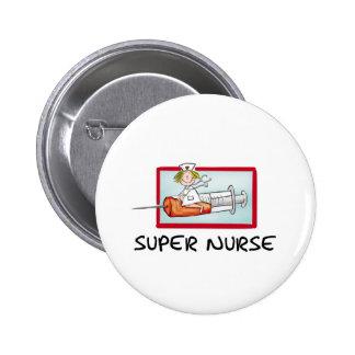 supernurse - Humorous Cartoon Nurse on Syringe. Pinback Button