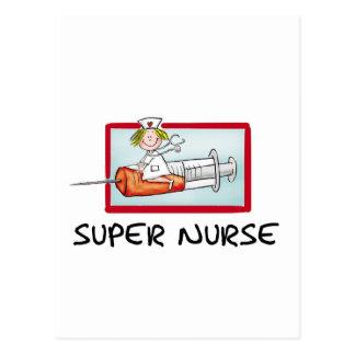 supernurse - Humorous Cartoon Nurse on Syringe. Postcard