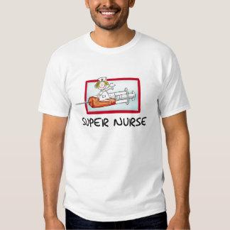 supernurse - Humorous Cartoon Nurse on Syringe. Tshirts
