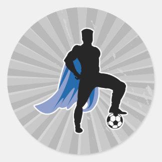 supero hero soccer player classic round sticker