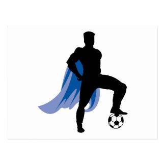 supero hero soccer player postcards