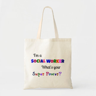 Superpoder del asistente social bolsa tela barata