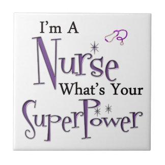 Superpotencia de la enfermera azulejo cuadrado pequeño